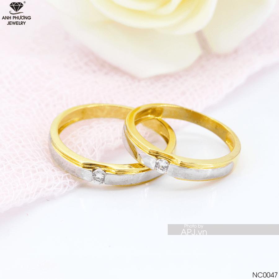 NC0047 Nhẫn cưới 2 màu đẹp APJ