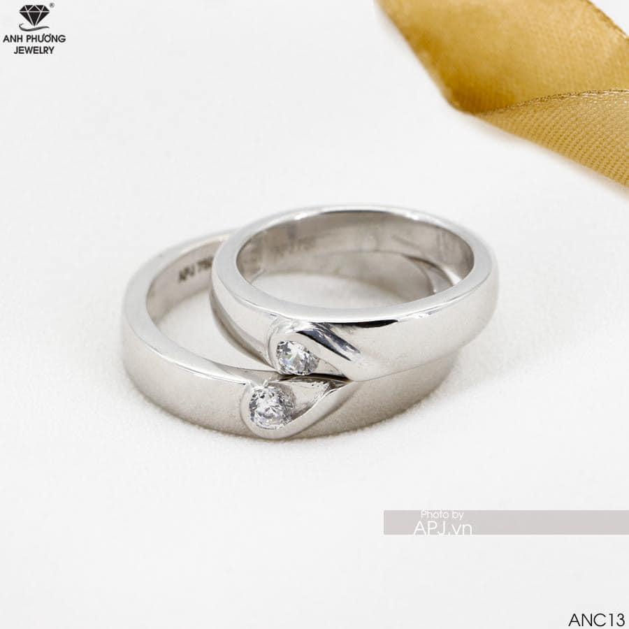 ANC13 Nhẫn cưới vàng trắng đẹp