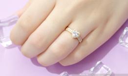 N1.0281 Nhẫn đính hôn vàng trắng trái tim đá cz