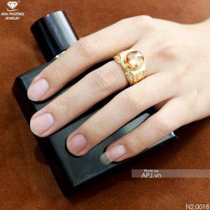 Nhẫn Nam Ngựa Vàng Vàng 18K Đá Vàng - N2.0018