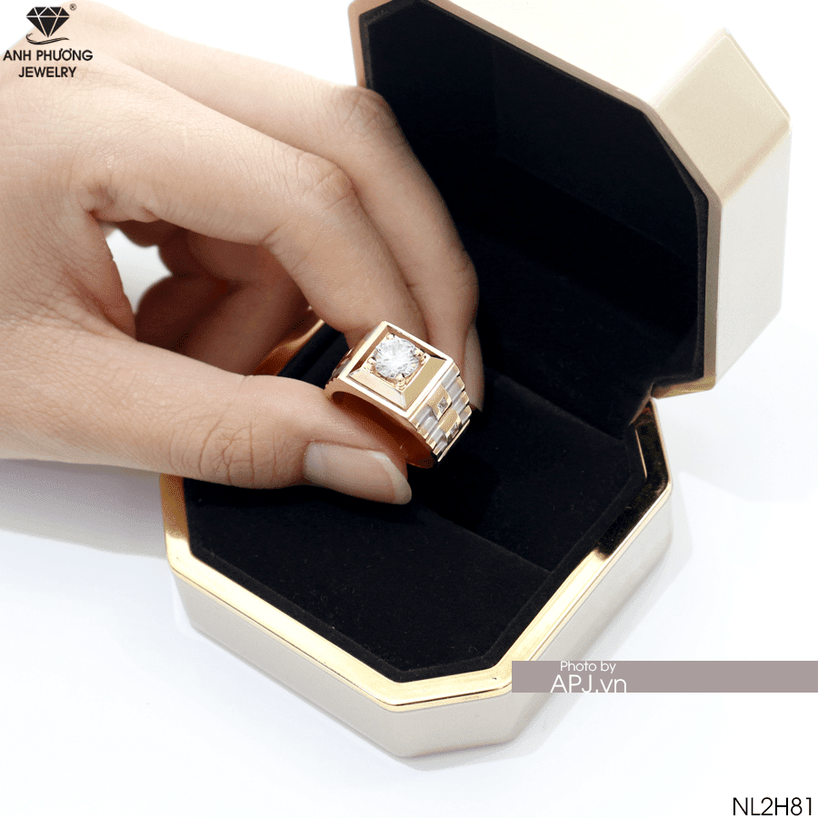 NL2H81 nhẫn nam vàng vàng phong thủy đẹp