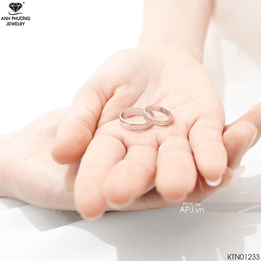 Thiết kế nhẫn cưới vàng trắng KTN01233