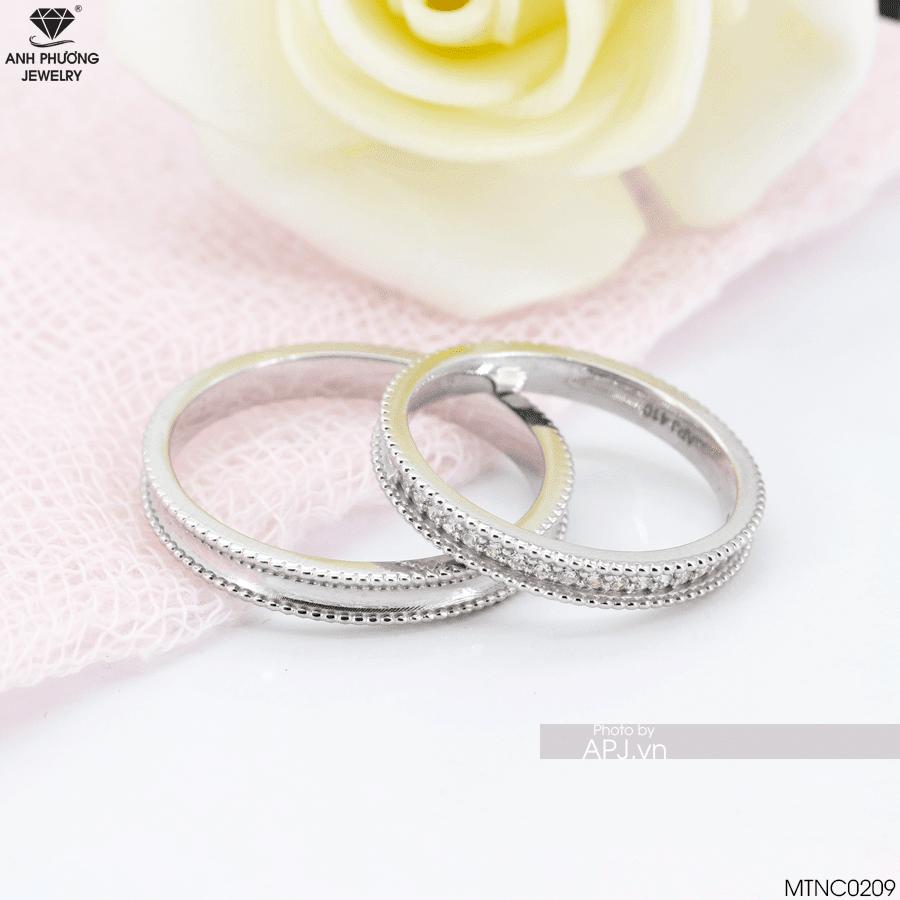MTNC0209 Nhẫn cưới vàng trắng đặt thiết kế riêng