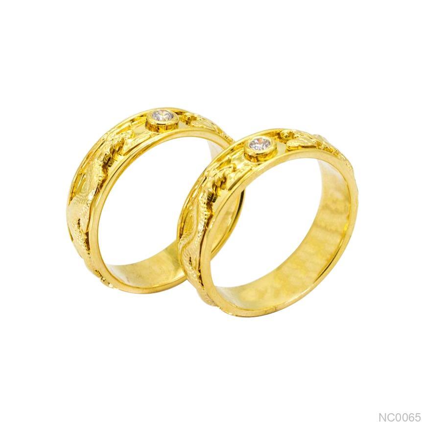 NC0065 Nhẫn cưới rồng phụng vàng 18k ý nghĩa