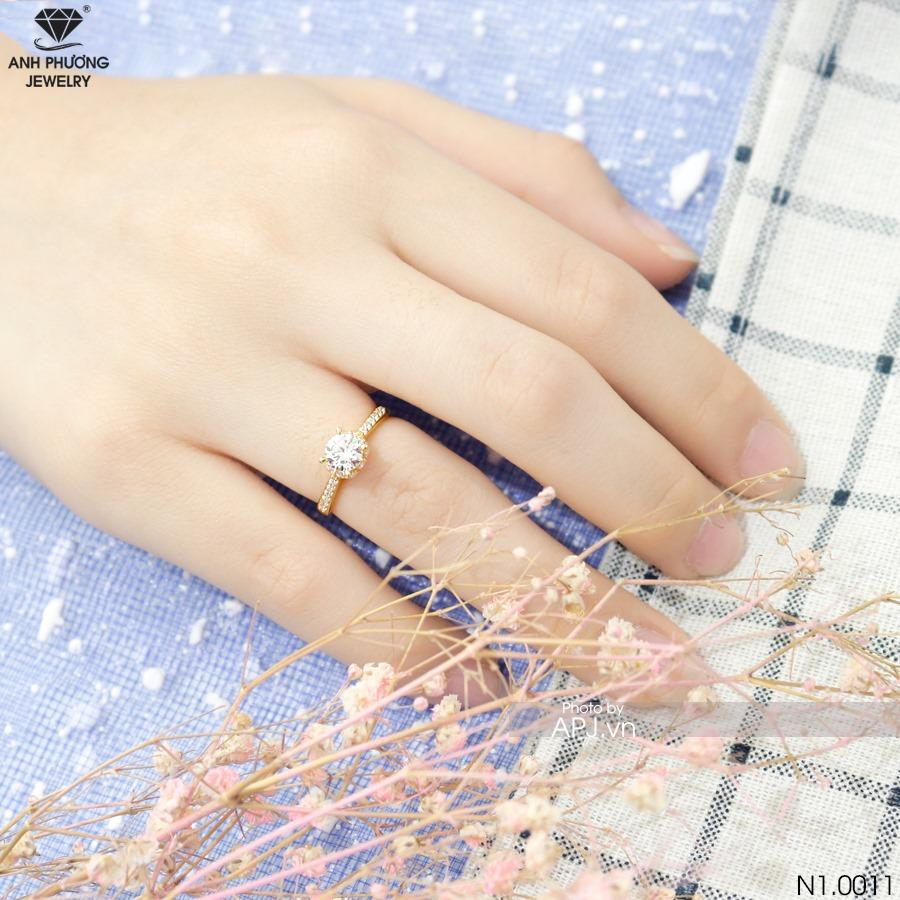 N1.0011 nhẫn đính hôn vàng vàng 18k ý nghĩa cầu hôn