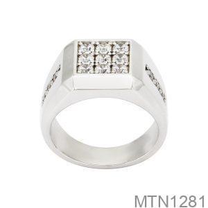 Nhẫn Nam Vàng Trắng 10k Đá Trắng - MTN1281