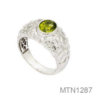 Nhẫn Nam Vàng Trắng 18k Đá Xanh Lục - MTN1287