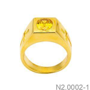 Nhẫn Nam Vàng Vàng 18K Đính Đá CZ - N2.0002-1