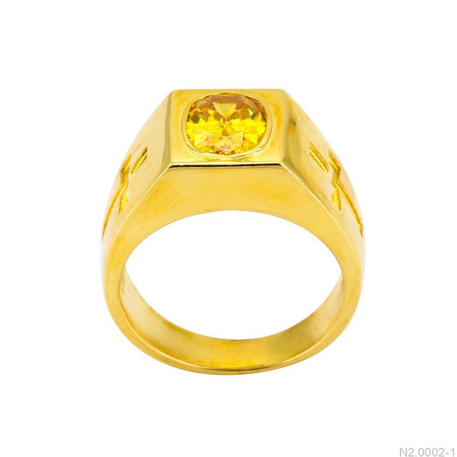 Nhẫn Nam Thánh Giá Vàng Vàng 18K Đá Vàng - N2.0002-1