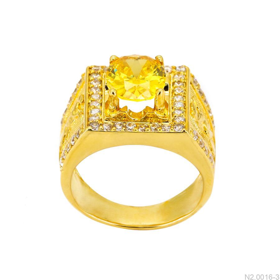 Nhẫn Nam Ngựa Vàng Vàng 18K Đá Vàng - N2.0016-3