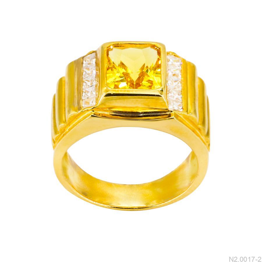 Nhẫn Nam Vàng Vàng 18K Đính Đá CZ - N2.0017-2