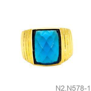 Nhẫn Nam Vàng Vàng 18K Đá Xanh Dương - N2.N578-1