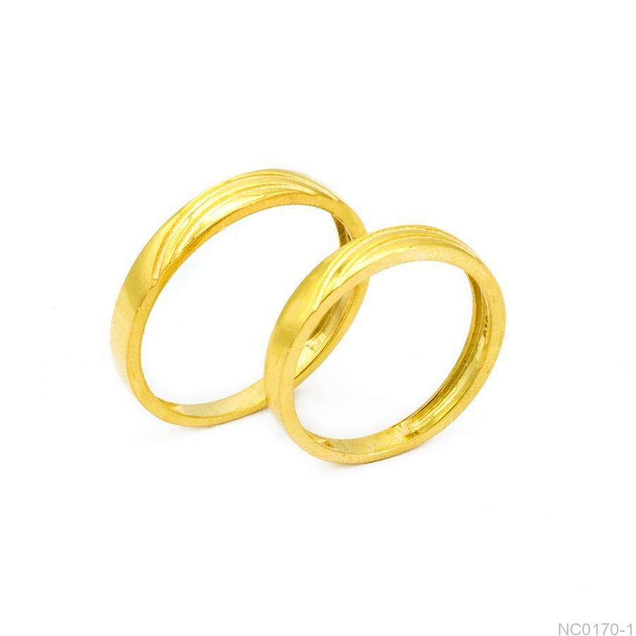 Nhẫn Cưới Vàng Vàng 18K Đính Đá Cz - NC0170-1