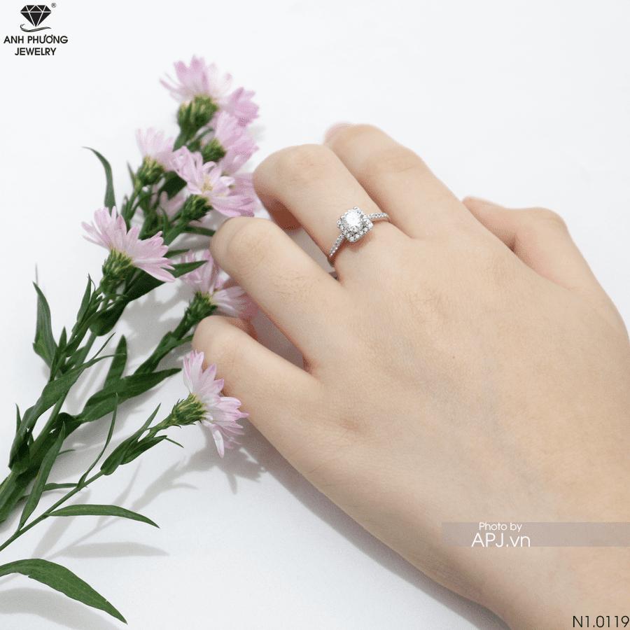 N1.0119 Nhẫn nữ vàng trắng đẹp