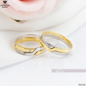 RNC09 Nhẫn cưới 2 màu ghép đôi duyên dáng