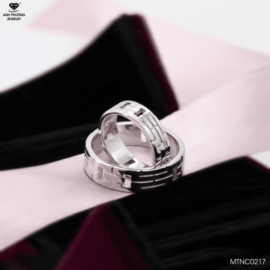 Nhẫn cưới vàng trắng MTNC0217