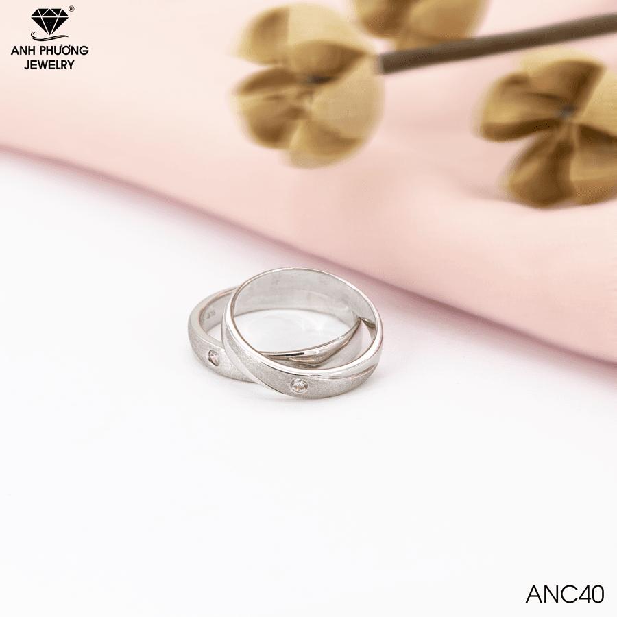 Nhẫn cưới vàng trắng ANC40