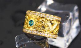 N2.0053 Nhẫn nam rồng vàng 18k đá xanh lục