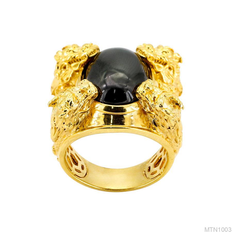 Nhẫn Nam Rồng Vàng Vàng 18K Đá Đen - MTN1003