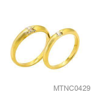 Nhẫn Cưới Vàng Vàng 18k Đính Đá Cz - MTNC0429