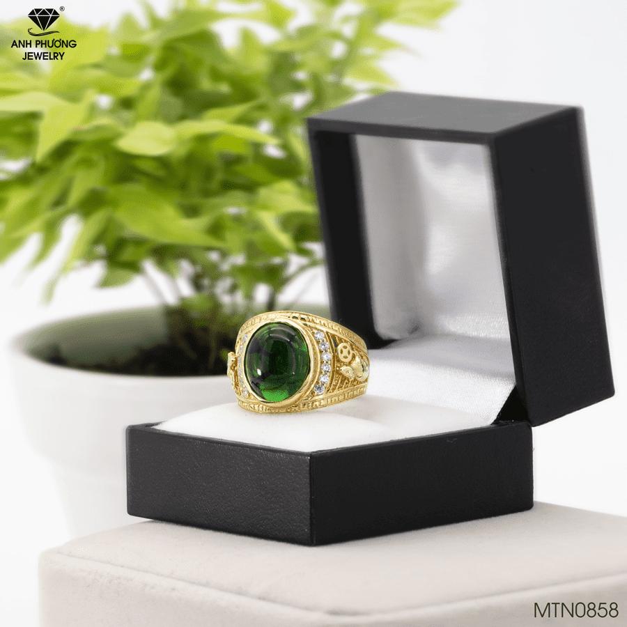 Nhẫn vàng nam xanh lá cây đẹp