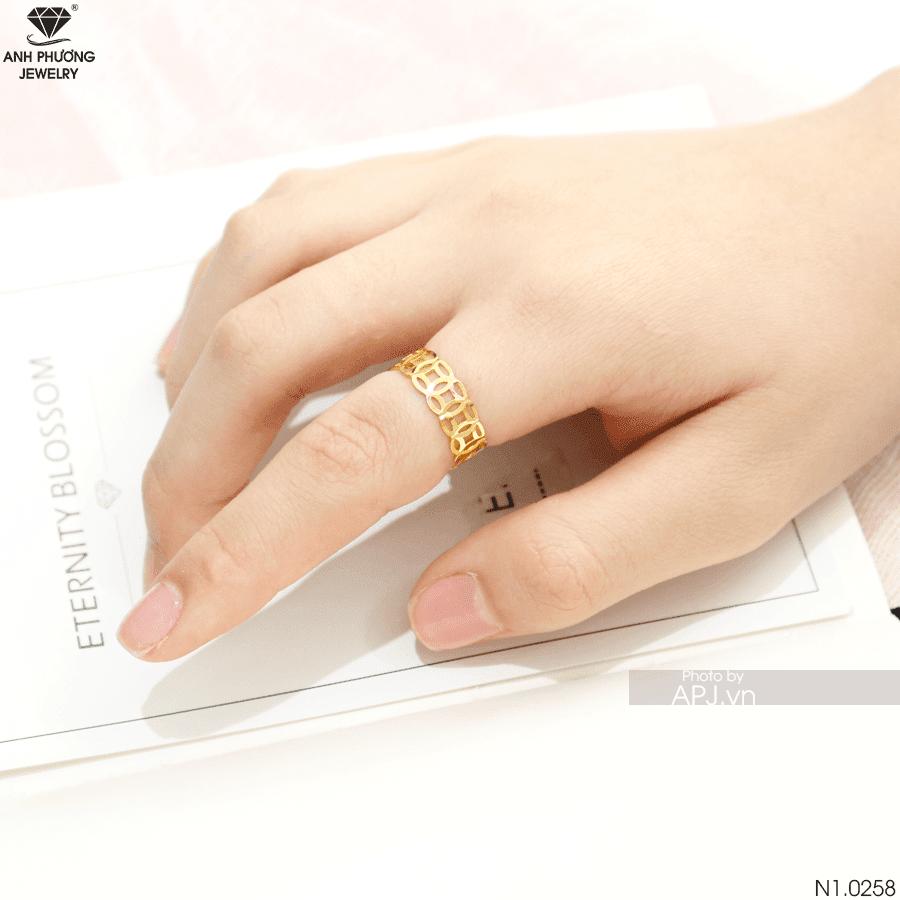 Nhẫn nữ bản nhỏ kim tiền