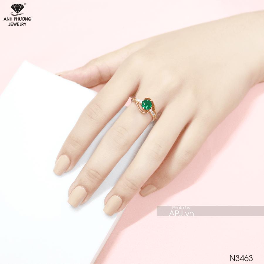 Nhẫn nữ hột xanh lá cây n3463