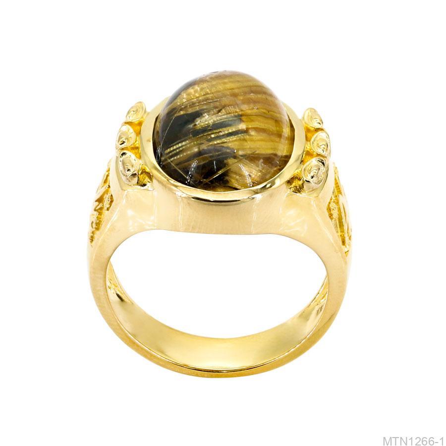 Nhẫn Nam Chữ Phúc Vàng Vàng 18K Đá Vàng - MTN1266-1