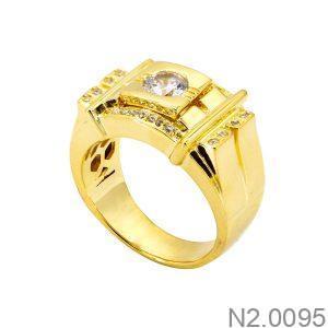 Nhẫn Nam Vàng Vàng 18k Đá Trắng - N2.0095
