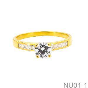 Nhẫn Nữ Vàng Vàng 18k Đính Đá Cz - NU01-1