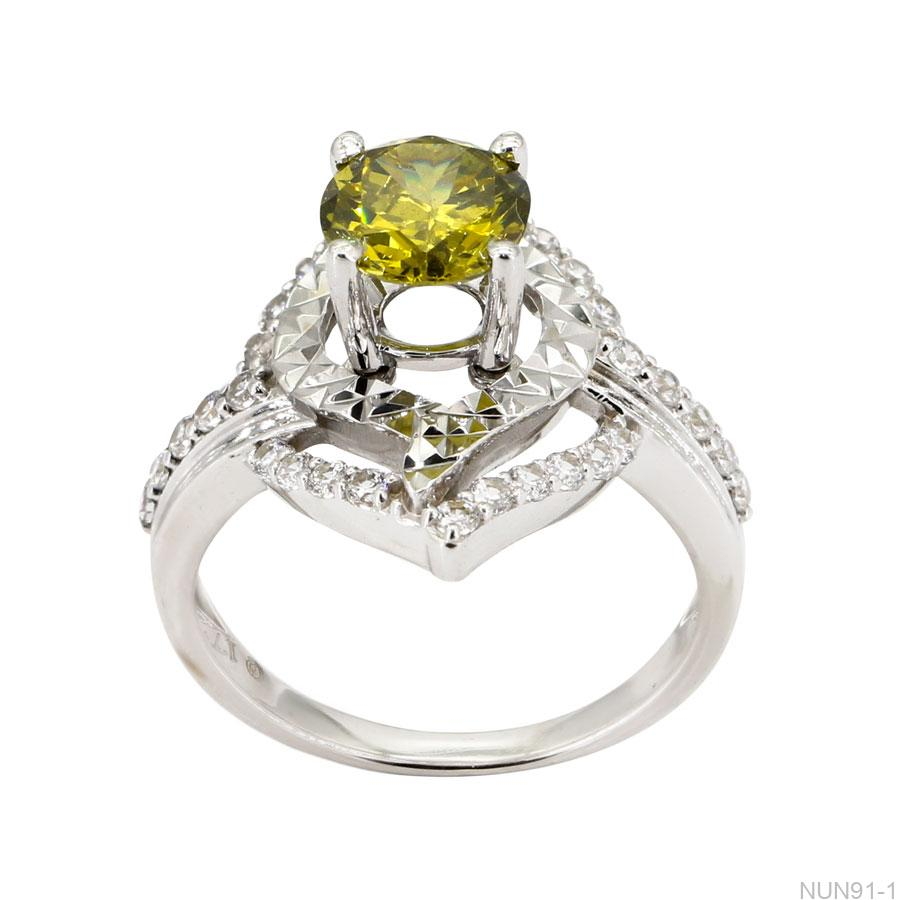 Nhẫn Nữ Vàng Trắng 14k Đính Đá Cz - NUN91-1