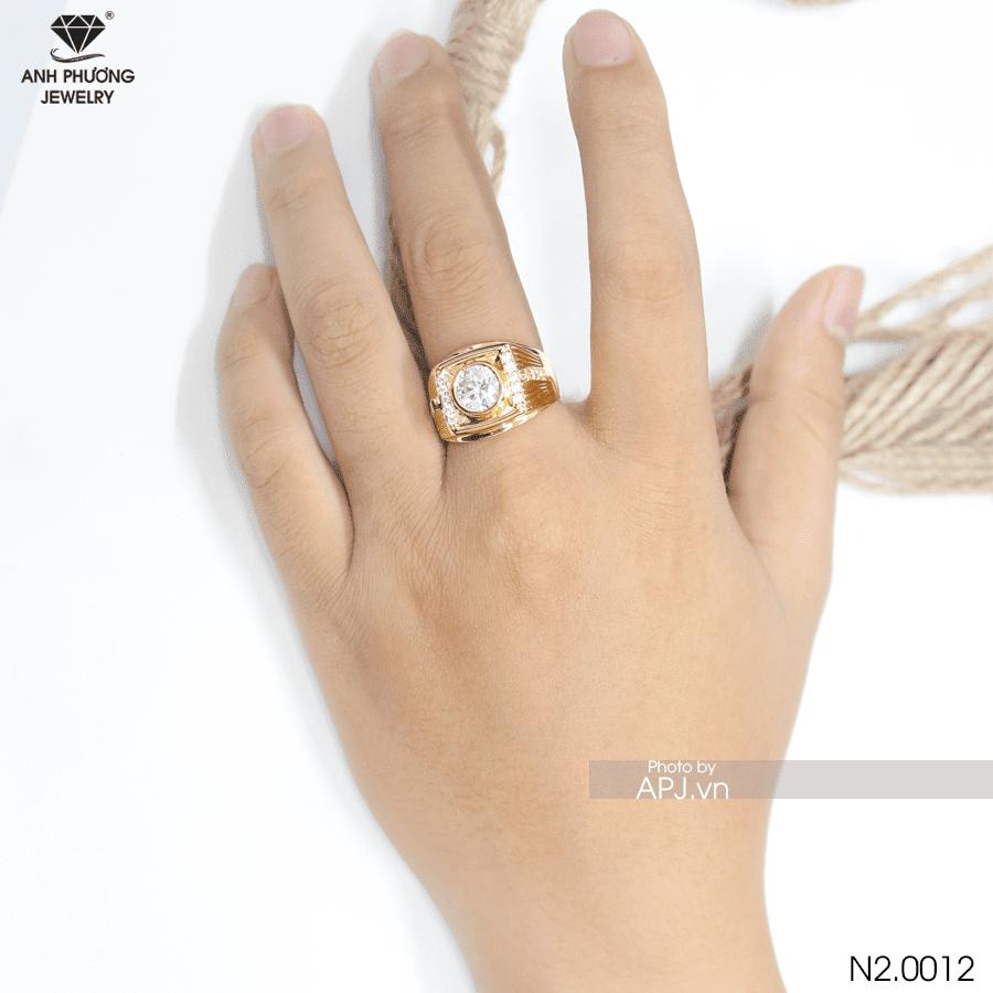 nhẫn vàng nam mặt đá trắng N2.0012