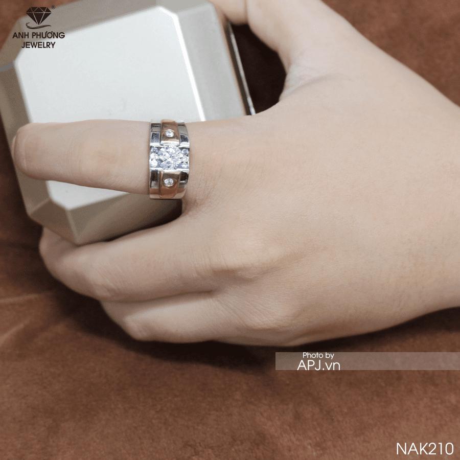 nhẫn vàng nam mặt đá trắng đẹp