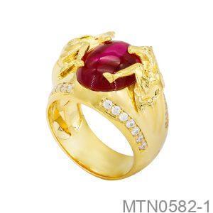 Nhẫn Nam Ngựa Vàng Vàng 18k Đá Đỏ - MTN0582-1