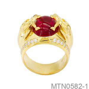 Nhẫn Nam Vàng Vàng 18k Đính Đá Cz - MTN0582-1