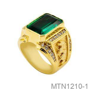 Nhẫn Nam Rồng Vàng Vàng 18K Đá Xanh Lục - MTN1210-1