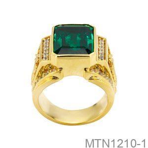 Nhẫn Nam Vàng Vàng 18K Đính Đá Emerald - MTN1210-1