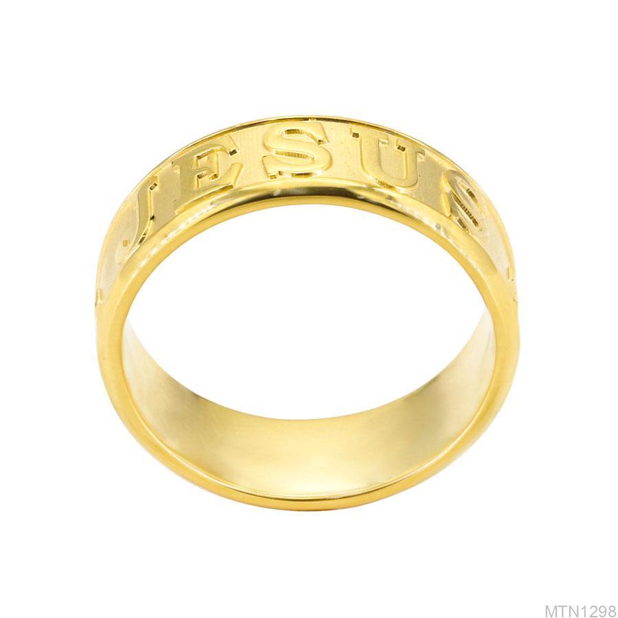 Nhẫn Nam Khắc Chữ Vàng Vàng 18k - MTN1298