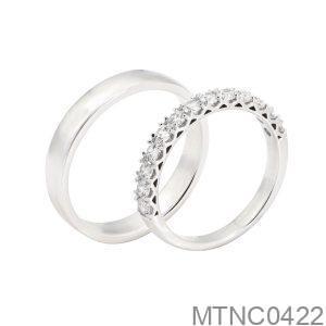 Nhẫn Cưới Vàng Trắng 10k Đính Đá Cz - MTNC0422