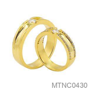 Nhẫn Cưới Vàng Vàng 18k Đính Đá Cz - MTNC0430