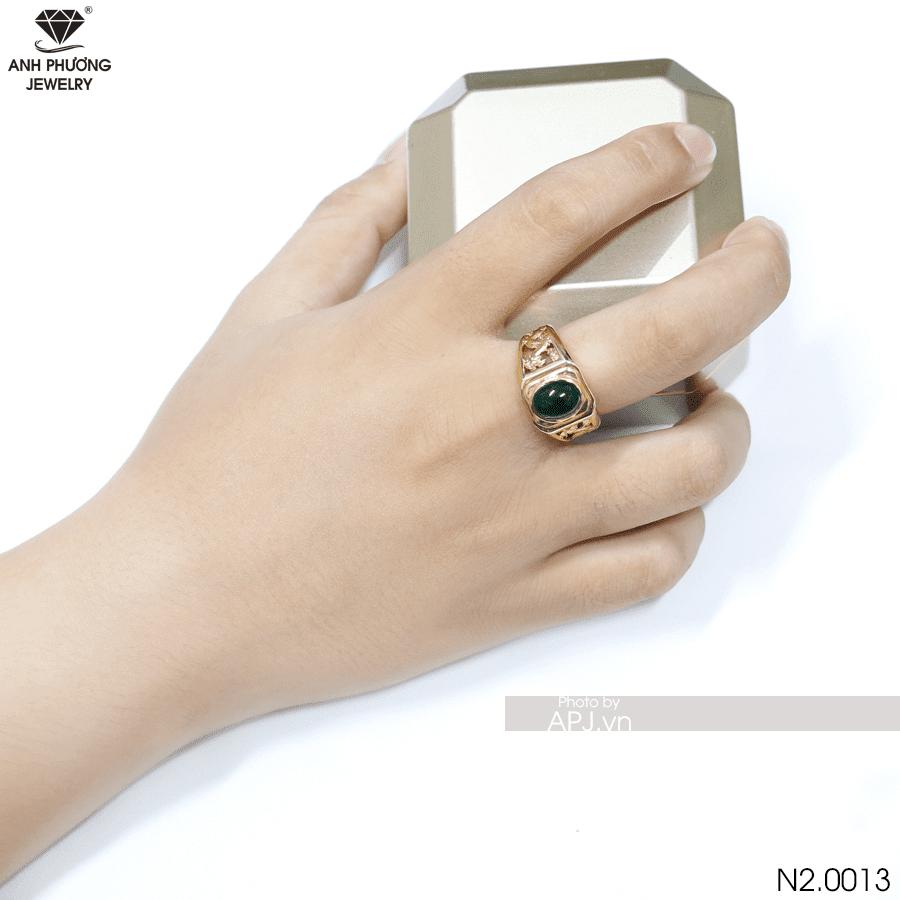 Nhẫn vàng nam mặt đá xanh lá cây