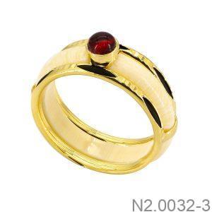 Nhẫn Nam Lông Voi Vàng Vàng 10k Đá Đỏ- N2.0032-3