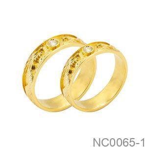 Nhẫn Cưới Vàng Vàng 18k Đính Đá Cz - NC0065-1