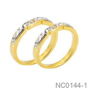 Nhẫn Cưới Vàng Vàng 18k Đính Đá Cz - NC0144-1