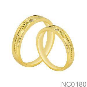 Nhẫn Cưới Vàng Vàng 18k Đính Đá Cz - NC0180