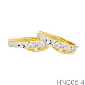 Nhẫn Cưới Hai Màu Vàng Vàng 18K - HNC05-4