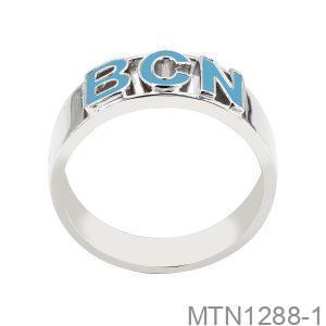 Nhẫn Nam Khắc Chữ Vàng Trắng 18K - MTN1288-1