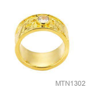 Nhẫn Nam Rồng Phượng Vàng Vàng 18K Đá Trắng - MTN1302