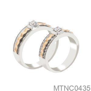 Nhẫn Cưới Hai Màu Vàng Trắng 18K - MTNC0435
