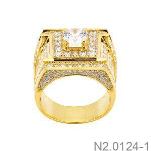 Nhẫn Nam Vàng Vàng 10K Đá Trắng - N2.0124-1